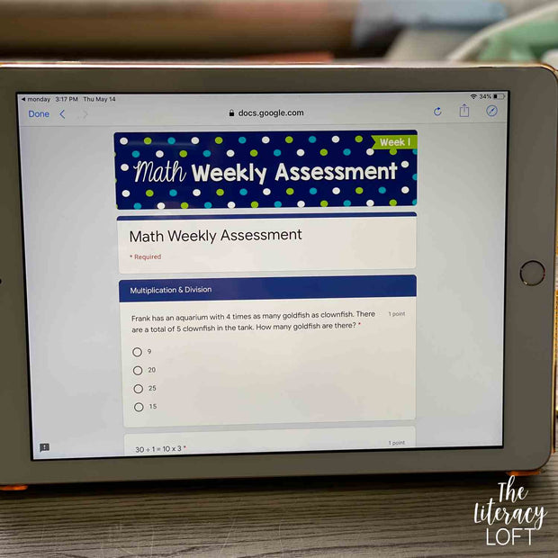 Math Weekly Assessments {5th Grade} | Distance Learning | Google Forms