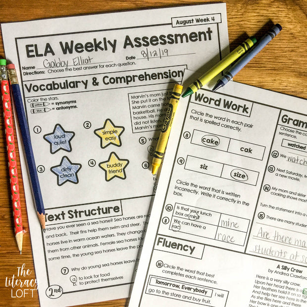 ELA Weekly Assessments {2nd Grade}