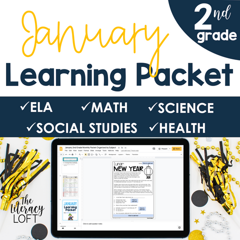 January Learning Packet 2nd Grade I Google Slides and Print