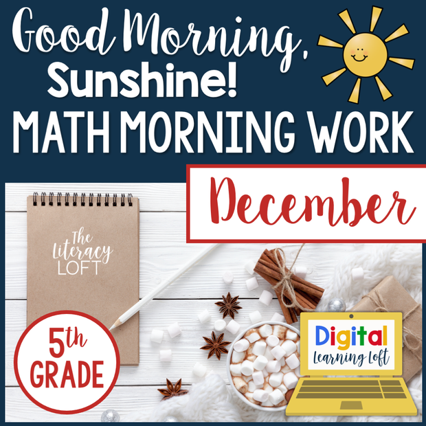 Math Morning Work 5th Grade {December} I Distance Learning I Google Slides