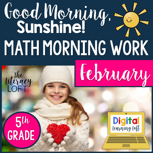 Math Morning Work 5th Grade {February} I Distance Learning I Google Slides