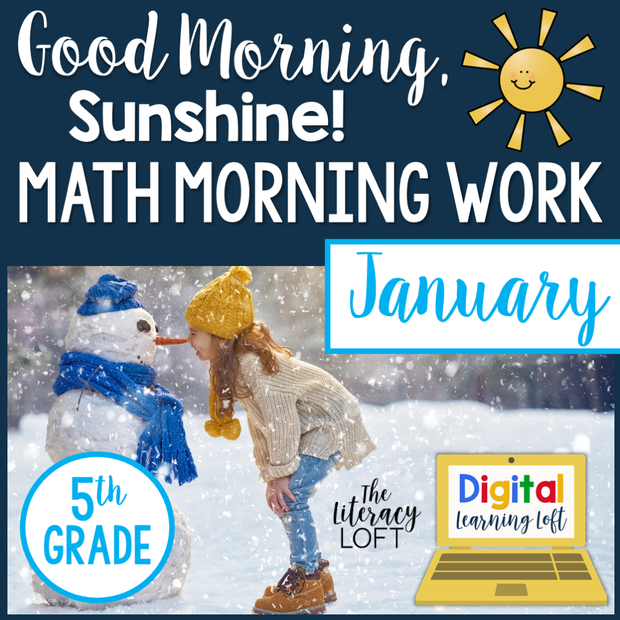 Math Morning Work 5th Grade {January} I Distance Learning I Google Slides