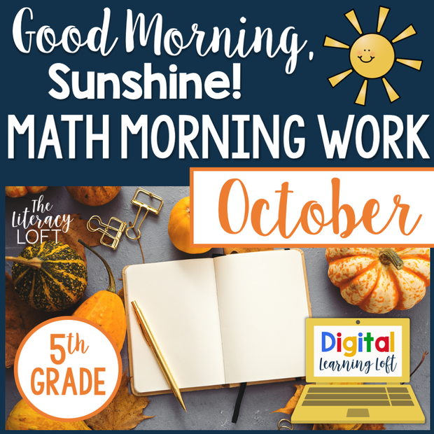 Math Morning Work 5th Grade {October} | Distance Learning | Google Slides
