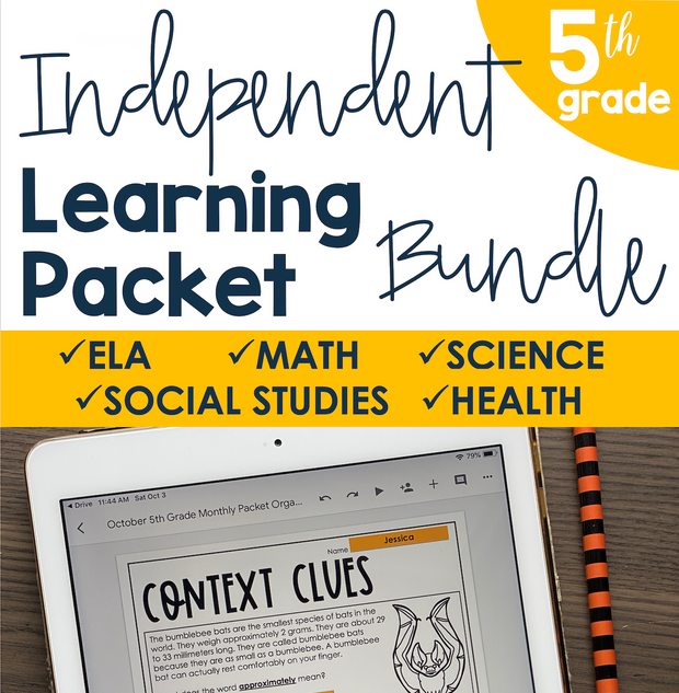 Independent Learning Packet 5th Grade Bundle | Google Slides + Print