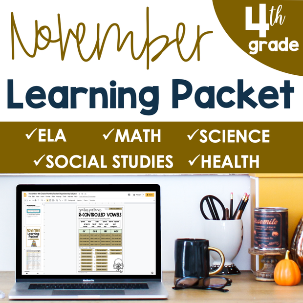 November Learning Packet 4th Grade I Google Slides and Print