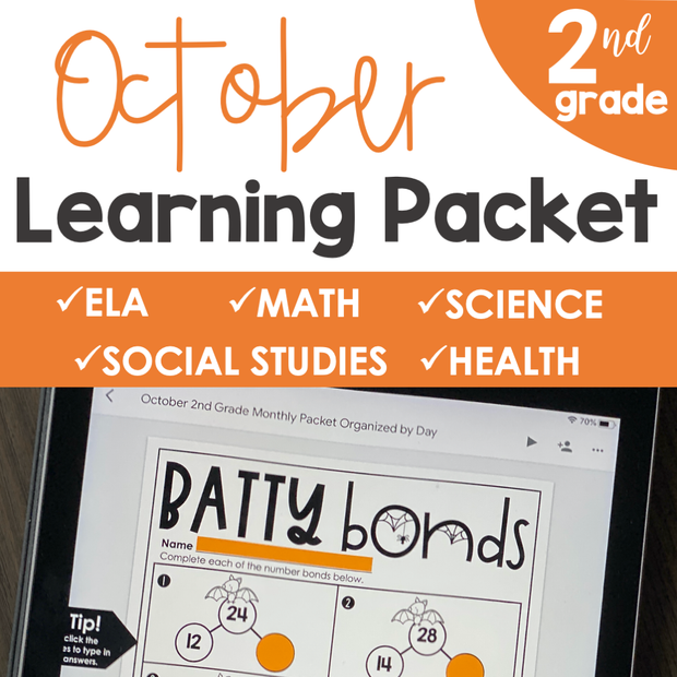 October Learning Packet 2nd Grade | Google Slides + Print
