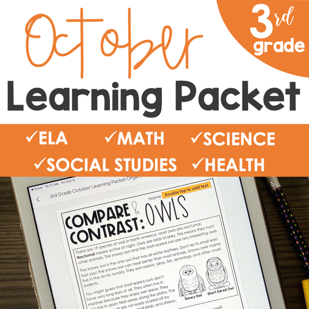 October Learning Packet 3rd Grade | Google Slides + Print