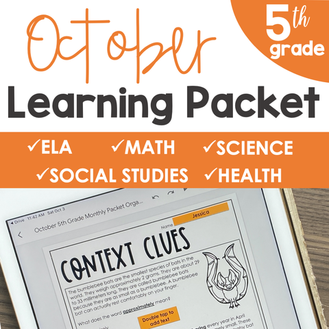 October Learning Packet 5th Grade | Google Slides + Print