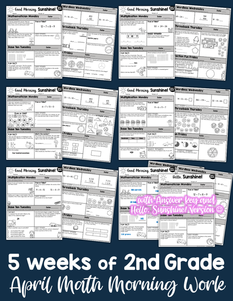 Math Morning Work 2nd Grade {April} | Distance Learning | Google Slides