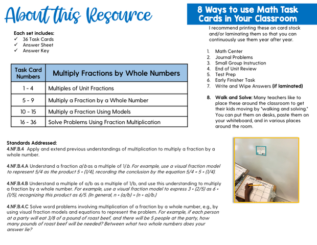 Multiply Fractions by Whole Numbers Task Cards (4th Grade) Google Slides and Forms Distance Learning