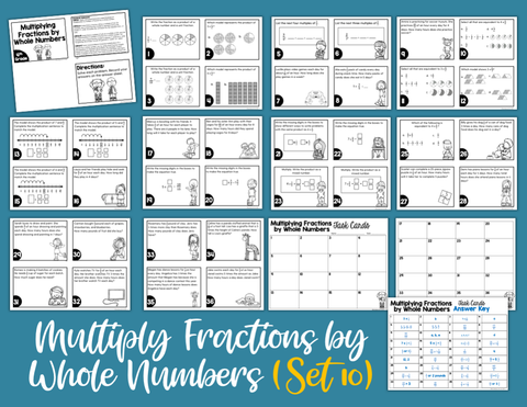 Multiply Fractions by Whole Numbers Task Cards (4th Grade)