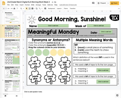ELA Morning Work 2nd Grade {March} | Distance Learning | Google Slides