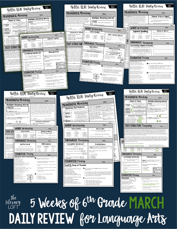 ELA Daily Review 6th Grade {March} GOOGLE SLIDES + PRINT
