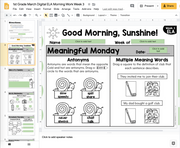 1st Grade ELA Morning Work (March) GOOGLE SLIDES + PRINT