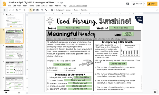 ELA Morning Work 4th Grade {April} | Distance Learning | Google Slides