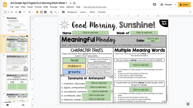 ELA Morning Work 3rd Grade {April} GOOGLE SLIDES + PRINT