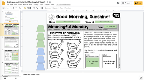 ELA Morning Work 2nd Grade {April} | Distance Learning | Google Slides