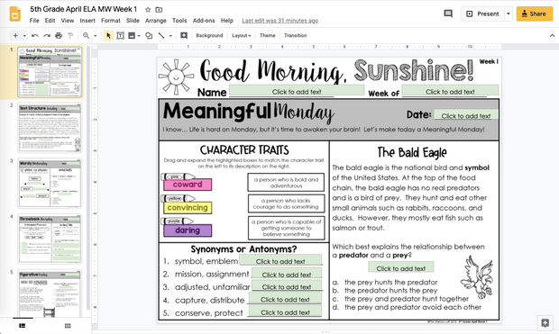 ELA Morning Work 5th Grade {April} | Distance Learning | Google Slides
