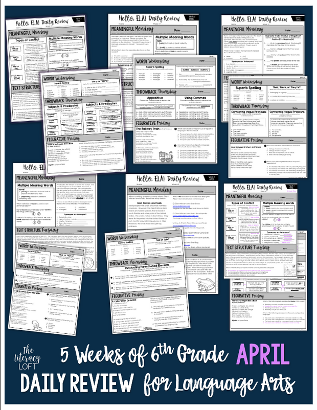 ELA Daily Review 6th Grade {April} GOOGLE SLIDES + PRINT