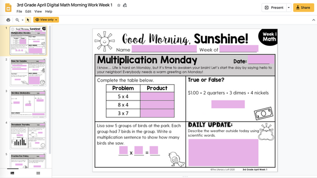 Math Morning Work 3rd Grade {April} | Distance Learning | Google Slides