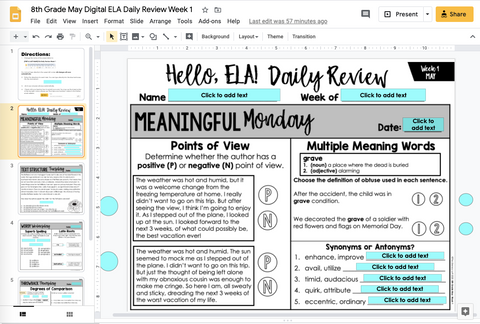 ELA Daily Review 8th Grade {May} | Distance Learning | Google Slides