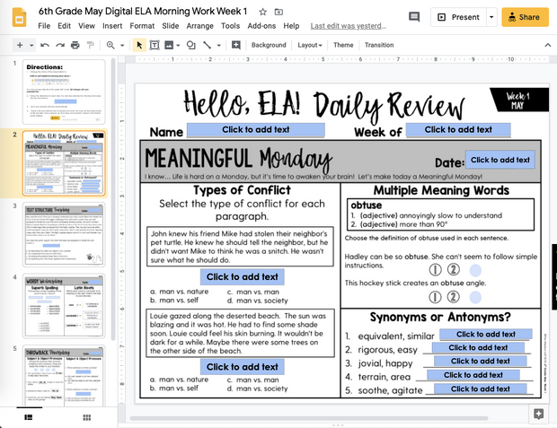ELA Daily Review 6th Grade {May} | Distance Learning | Google Slides
