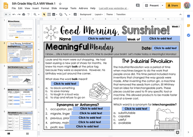 ELA Morning Work 5th Grade {May} | Distance Learning | Google Slides