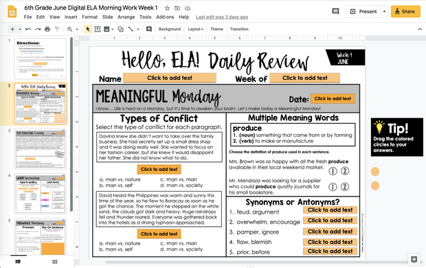 ELA Daily Review 6th Grade {June} | Distance Learning | Google Slides