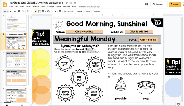 ELA Morning Work 1st Grade (June) | Distance Learning | Google Slides