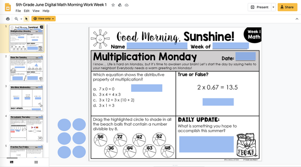 Math Morning Work 5th Grade {June} | Distance Learning | Google Slides