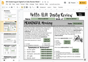 ELA Daily Review 8th Grade {August} | Distance Learning | Google Slides