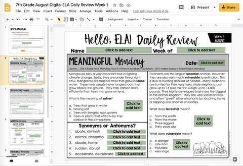 ELA Daily Review 7th Grade {August} | Distance Learning | Google Slides