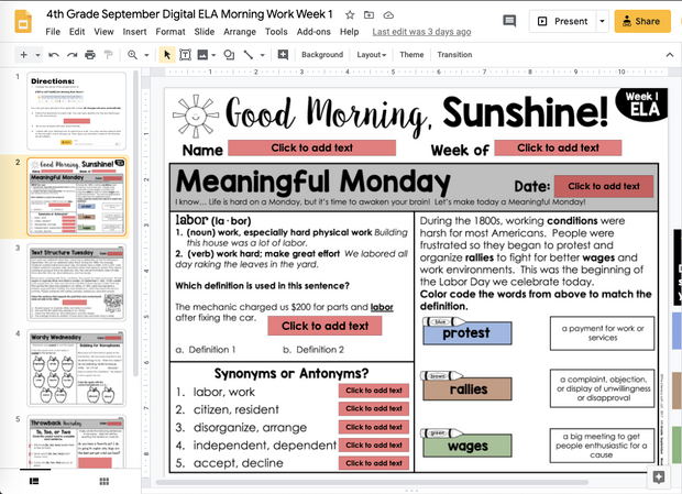 ELA Morning Work 4th Grade {September} | Distance Learning | Google Slides