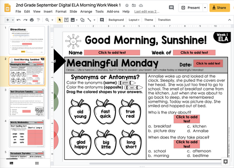 ELA Morning Work 2nd Grade {September} | Distance Learning | Google Slides