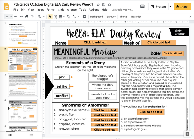 ELA Daily Review 7th Grade {October} | Distance Learning | Google Slides