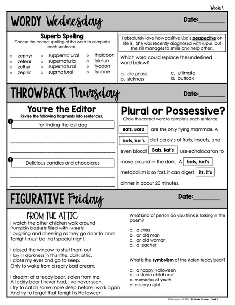 ELA Daily Review 8th Grade {October} | Distance Learning | Google Slides
