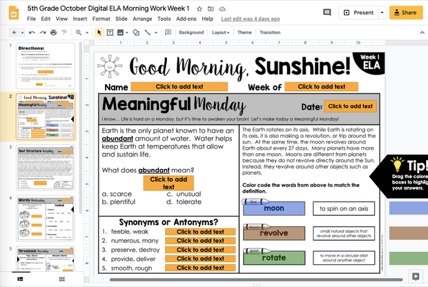 ELA Morning Work 5th Grade {October} | Distance Learning | Google Slides