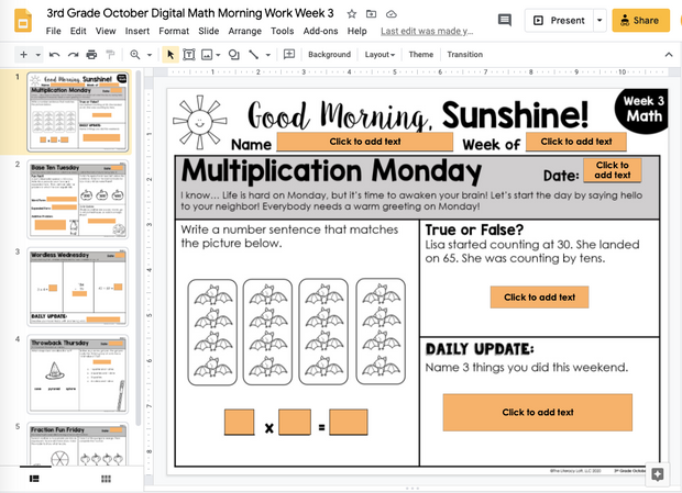 Math Morning Work 3rd Grade {October} | Distance Learning | Google Slides