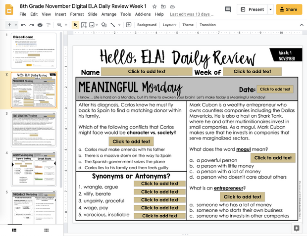 ELA Daily Review 8th Grade {November} | Distance Learning | Google Slides