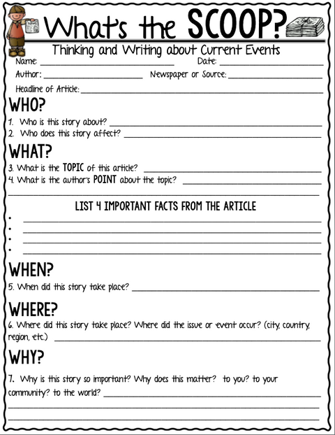 Current Event Newspaper Assignment-What's the SCOOP? | Google Slides + Print