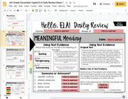 ELA Daily Review 6th Grade {December} I Distance Learning I Google Slides