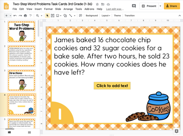 Two-Step Word Problems Task Cards (3rd Grade) Google Slides and Forms