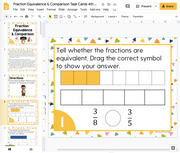 Fraction Equivalence & Comparison Math Task Cards (4th Grade) Google Slides and Forms Distance Learning