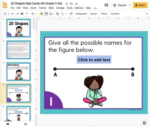 2D Shapes Task Cards (4th Grade) Google Slides and Forms Distance Learning