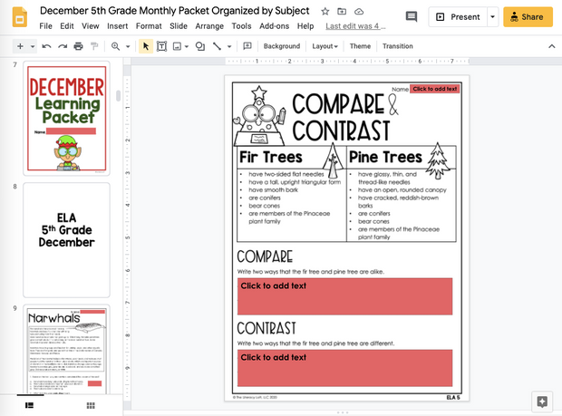 December Learning Packet 5th Grade I Google Slides and Print