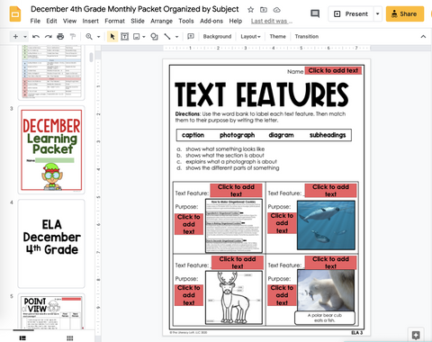 December Learning Packet 4th Grade I Google Slides and Print
