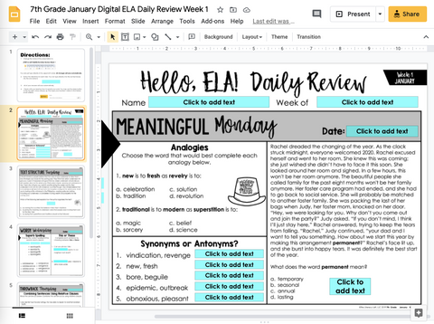 ELA Daily Review 7th Grade {January} I Distance Learning I Google Slides