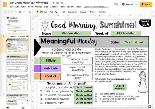 ELA Morning Work 5th Grade {March} | Distance Learning | Google Slides