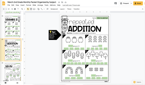 March Learning Packet 2nd Grade I Google Slides and Print