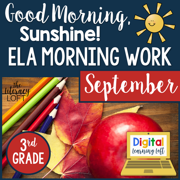 ELA Morning Work 3rd Grade {September} | Distance Learning | Google Slides and Forms